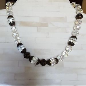 """Necklace / Clear Beads and Metal Orbs / 18"""""""
